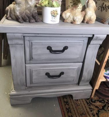 Gray & Black 2-Drawer Nightstand
