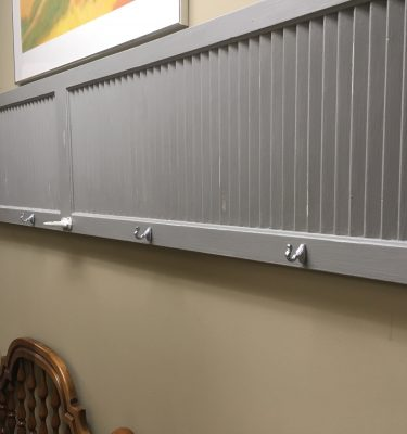 Gray & White Shutter Coat Rack