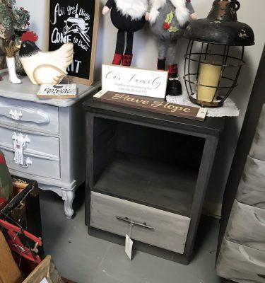 Black & Gray 1-Drawer Nightstand