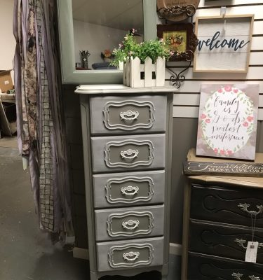 Gray & White Narrow Armoire
