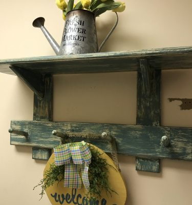 Distressed Green & White Shelf w/Pegs