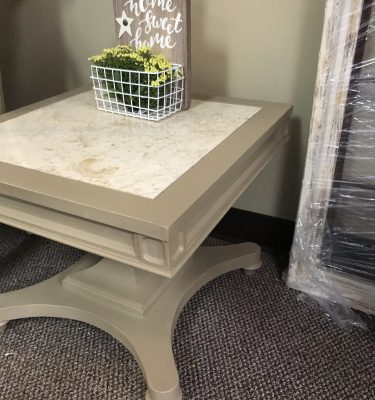 Square Marble & Wood End Table