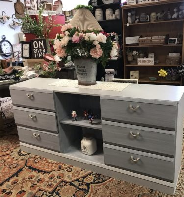 Dark & Light Gray & White 6-Drawer Dresser