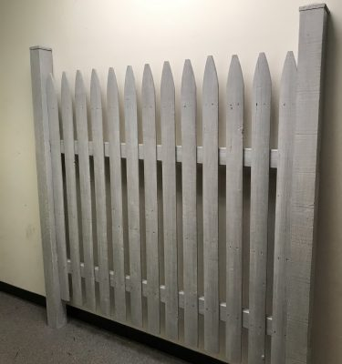 Gray & White Vintage Picket Fence Headboard
