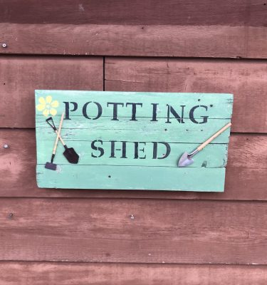Green Potting Shed Sign