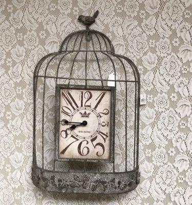 Metal Bird Cage Clock