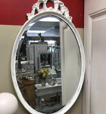 Distressed White Vintage Wall Mirror