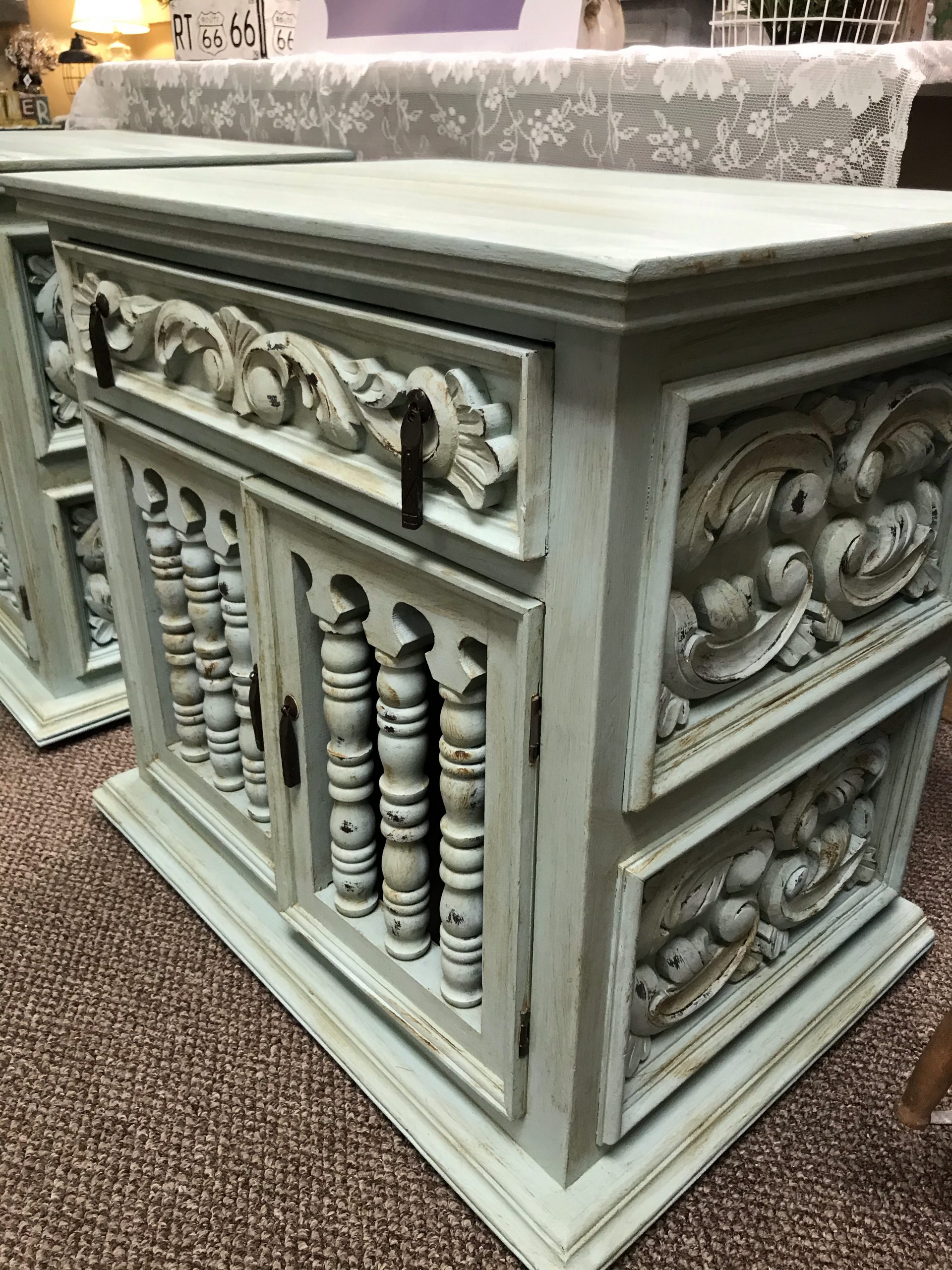 Light Green Brown Distressed 1 Drawer Nightstand End Table Refreshed Furnishings