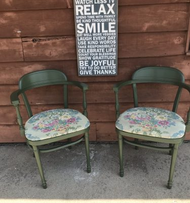 Set of Two Green Chairs W/Floral Seat