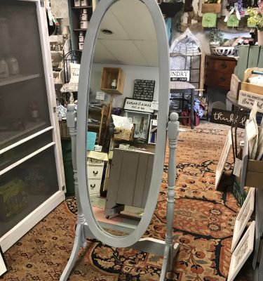 Gray & White Floor Swivel Mirror