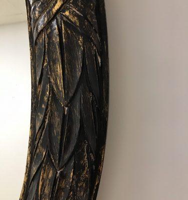 Distressed Black & Gold Vintage Oval Mirror