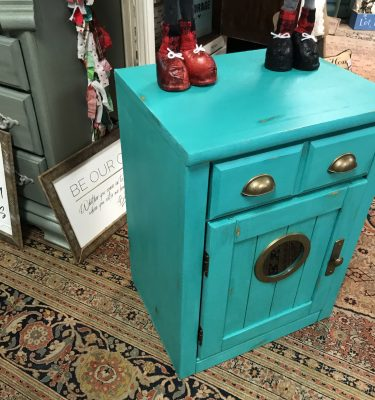 Green 1-Drawer Small Nautical Look End Table/Nightstand