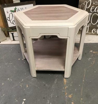 White & Tan Hexagon Small Table