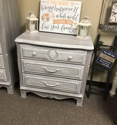 Gray & White 3-Drawer Dresser