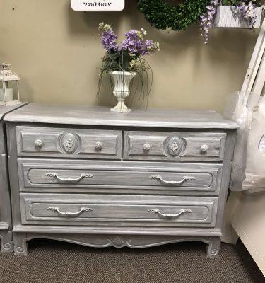 Gray & White 4-Drawer Dresser