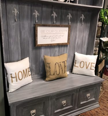 Gray & White-Washed Hall Tree 2-Piece Unit
