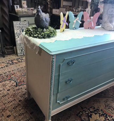 Off-White& Teal Vintage Dresser