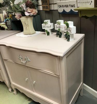 Light Pink Bassett 1-Drawer & 1-Cabinet French Provincial-Style Dresser*