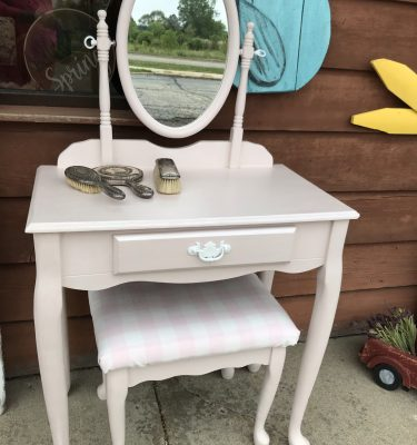Light Pink 1- Drawer Vanity with Mirror & Stool