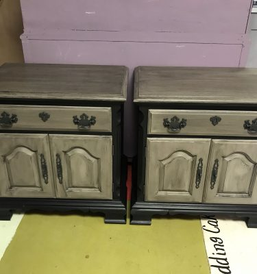 Set of Two Black & Gray 1-Drawer 1-Cabinet Nightstands